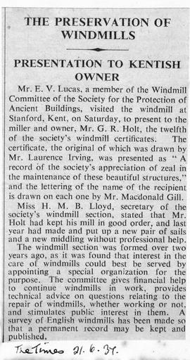 """The Preservation of Windmills - Presentation to Kentish Owner"""