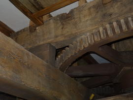 Great spur wheel, upright shaft support frame and bin floor beams, Beacon Mill, Benenden