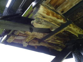 Underside of buck showing sheers and tailpole, post mill, Bourn