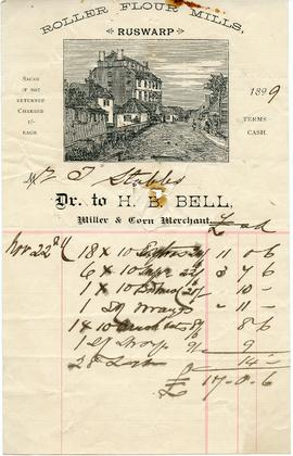Bill from H B Bell, Miller & Corn Merchant, Ruswarp Roller Flour Mills