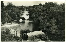 """Warwick Castle, the old Saxon bridge and weir"""