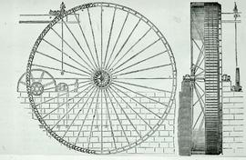 """Evan Leigh, Reanston Waterwheel, 70' diameter"""