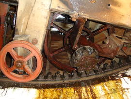 Cap frame, truck wheel, curb, rack and fantail gearing, Ellis Mill, Lincoln