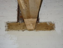 Mounting of spout floor beam, tower mill, Quainton