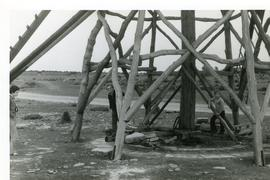 Detail of skeleton smock mill, used for stone-polishing, at Jordhann Quarries, island of Oland, S...