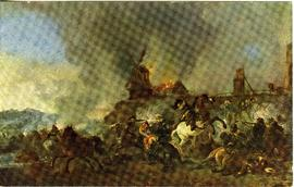 Battle on horseback near a windmill