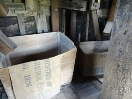 Meal arks on spout floor, Pitstone Windmill, Pitstone