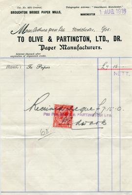 Billhead receipt of Olive and Partington, Ltd, Broughton Bridge Paper Works