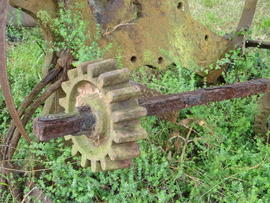 Unidentified gearing, possibly part of winding gear, on ground outside mill, Sark Mill, Sark
