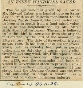 """An Essex windmill saved"""