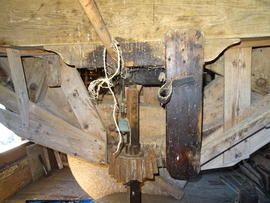 Tailwheel, tail stone nut, tailbeam and striking gear, New Mill, Cross in Hand