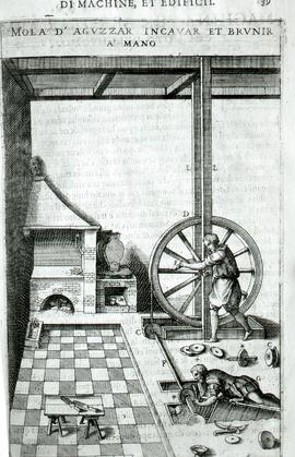 """Zonca 1607, man turning small grindstone"""