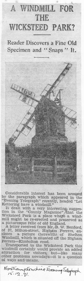 """A Windmill for the Wicksteed Park - Reader Discovers a Fine Old Specimen and 'Snaps' it"""