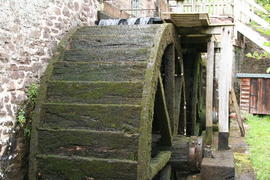 Dunster Mill, Dunster - two wooden overshot waterwheels in line