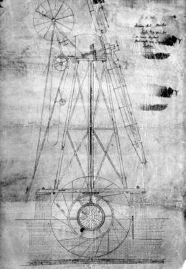 Section drawing of Horning Marshes wind mill by Daniel England