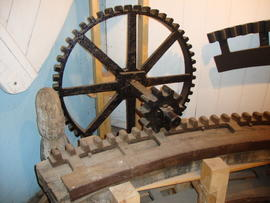 Original winding gear in museum section, Ovenden's Windmill, Polegate