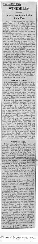 """Windmills - A Plea for Fylde Relics of the Past"""
