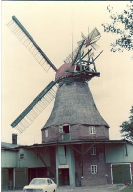 Preserved smock mill at unidentified location in Schleswig-Holstein, West Germany, summer 1974
