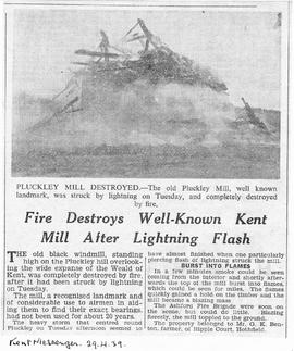 """Fire Destroys Well-Known Kent Mill After Lightening Flash - Pluckley Mill Destroyed"""