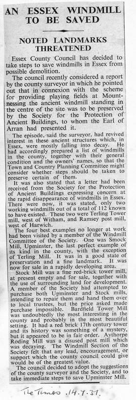 """An Essex Windmill to be Saved - Noted landmarks threatened"""