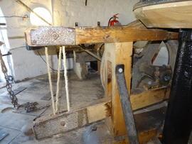 Sack hoist support frame and adjusting lever, tower mill, Wilton