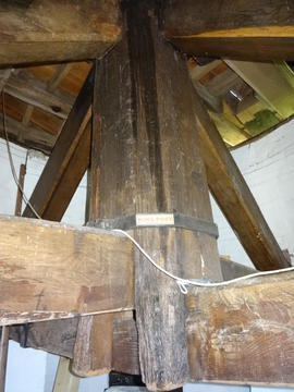 Main post, quarterbars and crosstrees, Danzey Green Mill, Avoncroft Museum