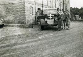 """1950's - front of Sindlesham Mill, one 6 ton lorry and mill personnel"""