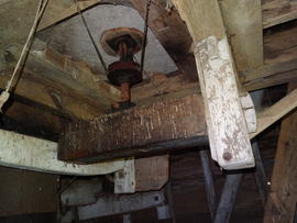 Bridgetree, brayer and underside of tailstones, New Mill, Cross in Hand