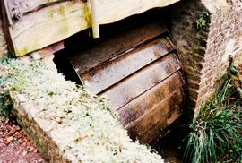 Old Loders Mill, Loders, Dorset, low breast-shot waterwheel, turning in 1990s
