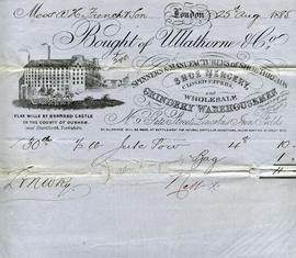 Billhead receipt of Ullathorne and Co, Barnard Castle, Spinners and Manufacturers of Shoe Threads
