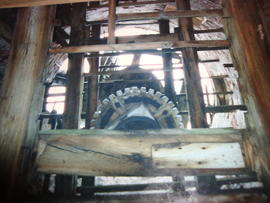 Tower mill, Prees Green, Weston Under Redcastle, looking up inside tower at brakewheel, wallower ...