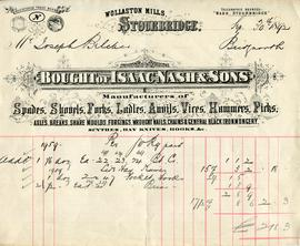 Billhead receipt of Isaac Nash and Sons, Wollaston Mills, Stourbridge