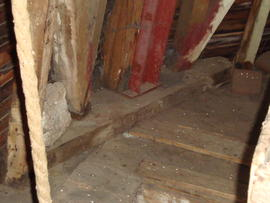 Stone floor framing and sill, Cattell's smock mill, Willingham