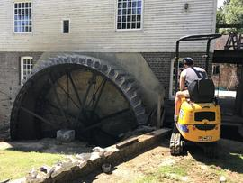 Newly restored waterwheel at Dean's Mill, Lindfield