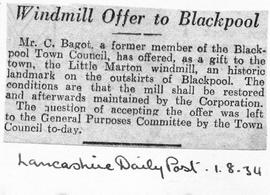 """Windmill offer to Blackpool"""