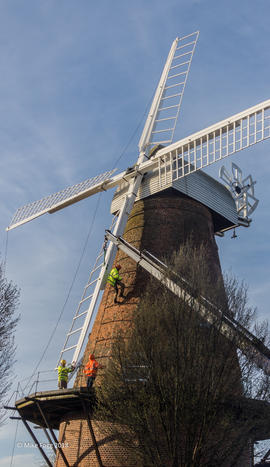 Attaching the final new sail, Rayleigh Windmill