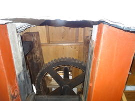 Great spur wheel and upright shaft support frame, Sark Mill, Sark