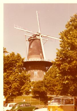 Preserved tower mill Die Valk at Leiden, Holland, 1973