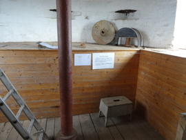 Upright shaft on bin floor, tower mill, Quainton