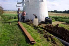 Work being carried out at Thurne Mill, Thurne Dyke