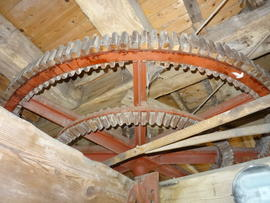 Great spur wheel and secondary cog ring, tower mill, Quainton