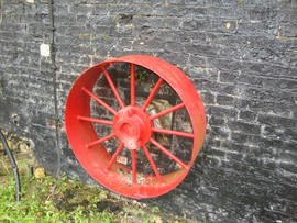 External engine drive pulley, Cattell's smock mill, Willingham