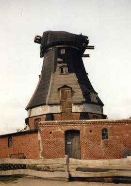 Derelict smock mill at Wohrden, Nordsee, Germany, 1989