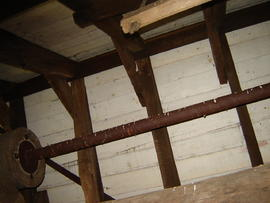 Sack hoist and roof framing, post mill, Madingley