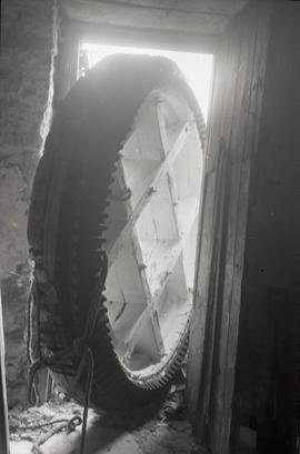 """Bradwell, Bucks - brakewheel removed from Bozeat Windmill, Northants"""