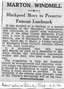 """Marton Windmill - Blackpool Move to Preserve Famous Landmark"""