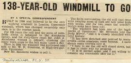 """138-year-old windmill to go"""