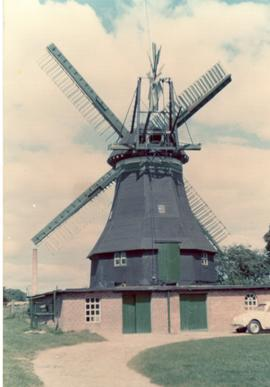 Preserved smock mill (miller turned sails for us) at unidentified location in Schleswig-Holstein,...
