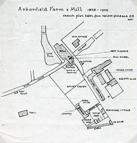 Research Paper Material: Arborfield Hall Farm and Mill (1838 - 1900) - Sketch plan of Aborfield Farm and Mill