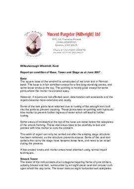 """Willesborough Windmill, Kent: Report on condition of Base, Tower and Stage as at June 2007&..."